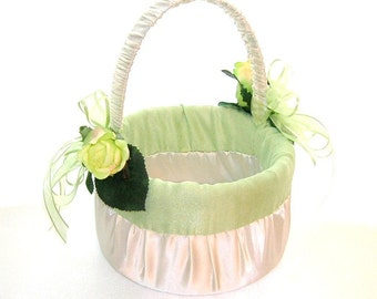 50% OFF, Last One, Last One, Flower Girl Basket in Ivory Satin With Celedon Dupioni Silk Trim