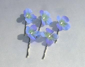 Dainty Blue Hydrangea Bobby Pins With Swarovski Crystal Centers