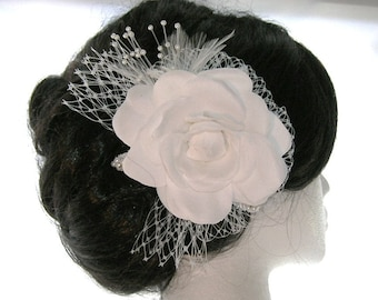 Camelia Bridal Hair Fascinator With French Netting Bow, Pearl Spray, Feathers and Embellished Millinery Leaves