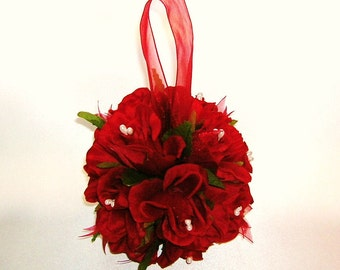 50% OFF, Last One, Red Rose Pomander Kissing Ball, Wedding Decoration