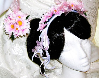 Pink Daisy Headband and Matching Pomander Set For Flower Girl or Junior Bridesmaid
