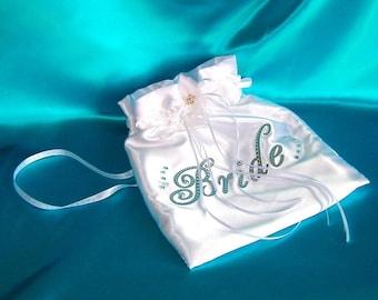 Bridal Drawstring Bag, Satin Money Dance Bag, Card Bag, Bridal Pouch