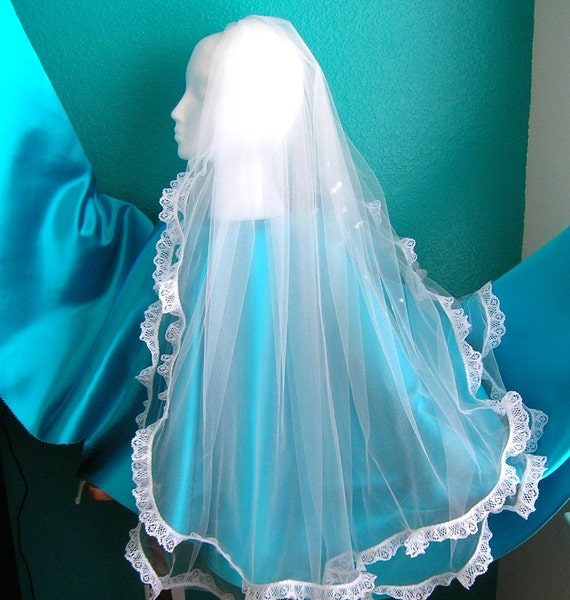 Fingertip Veil, 2 Tiered With One Inch Lace Edge, THE ABBEY