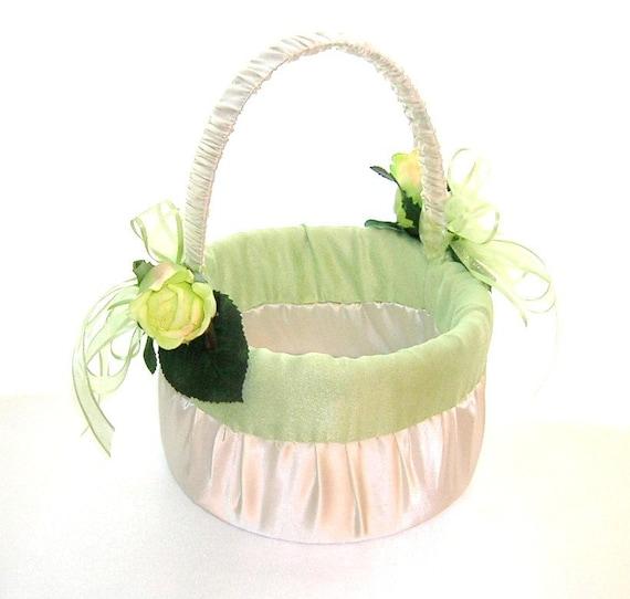 50% OFF, Last One, Last One, Flower Girl Basket in Ivory Satin With Celedon Dupioni Silk Trim