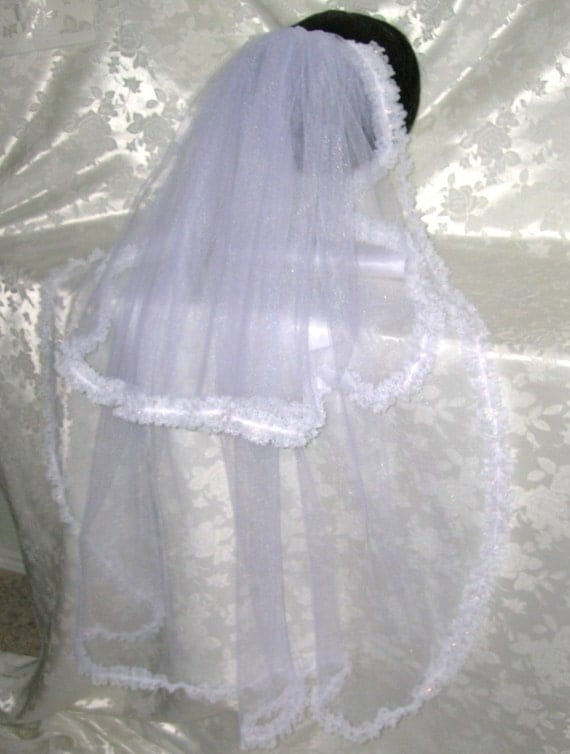 Two Tiered Fingertip Veil Edged in a Beautiful Irridescent Lace, THE GENEVIEVE