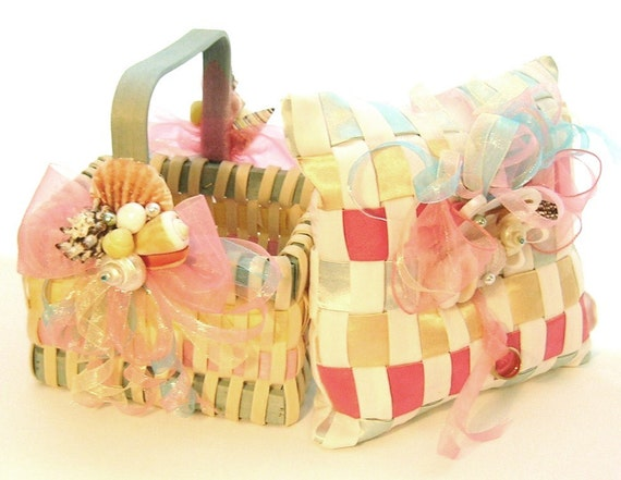 50% OFF, Last One,  Flower Girl Basket and Ring Bearer Pillow Set, Seashells and Multi Color Woven Wicker & Satin