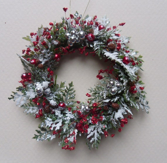 cyber monday sale now for frosted miniature christmas wreath. Black Bedroom Furniture Sets. Home Design Ideas