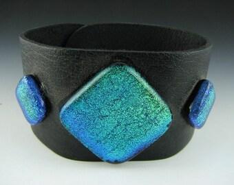Aurora Borealis Green Leather Cuff Bracelet