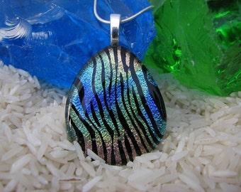 Vibrant Rainbow ZebraTeardrop Pendant