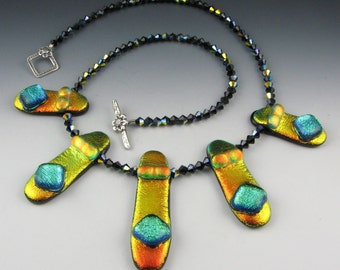 Gold and Green Dichroic Five Piece Necklace