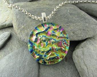 Round Rainbow Ripple Dichroic Pendant