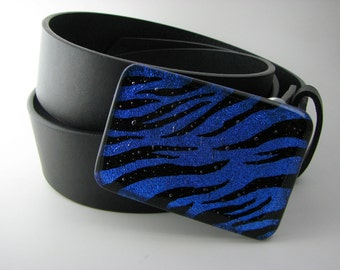 Blue and Black Zebra Dichroic Belt Buckle