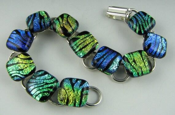 Multi-colored Zebra Dichroic Bracelet