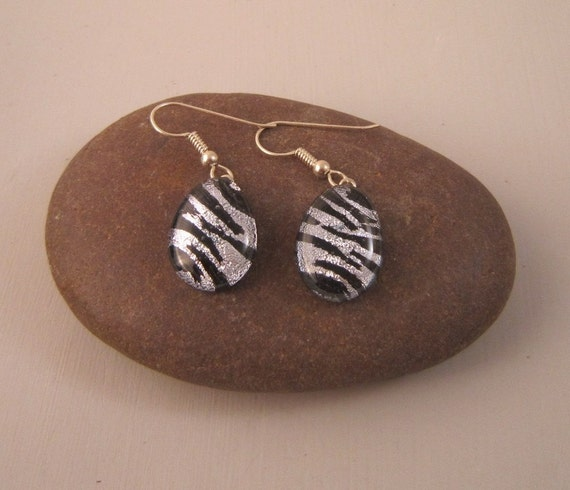 Dichroic Black and Silver Earrings