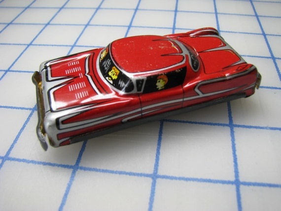 Vintage Red Tin Toy Friction Car