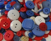 100 All American Red White and Blue Buttons Round Multi Sizes