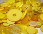 200 Sunshine Yellow Buttons Round Multi Sizes