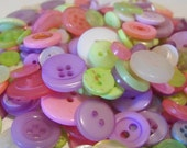 100 Spring Blossom Buttons Round Multi Sizes