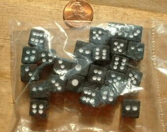 Miniature Black Plastic Dice