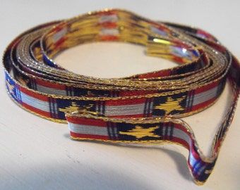 Red, Blue and Gold Stars Ribbon 3 Yards