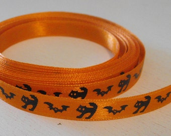 Orange with Black Cats and Bats Ribbon 5 Yards