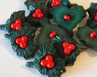 10 Christmas Holly Leaves Large Shank Buttons