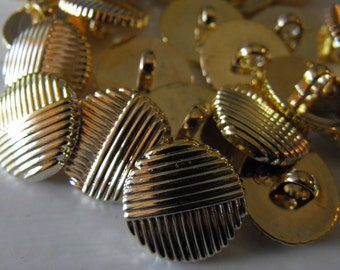 22 Gold Double Groove Shank Round Buttons