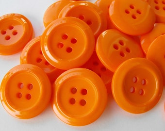 30 Orange Double Round Buttons Size 7/8""
