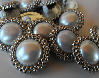 10 Silver Encircled Pearl Large Shank Buttons Size 1 1/8""