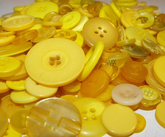 50 Sunshine Yellow Buttons Round Multi Sizes