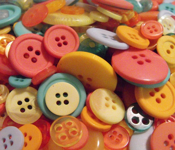 50 Summertime Buttons Round Multi Sizes
