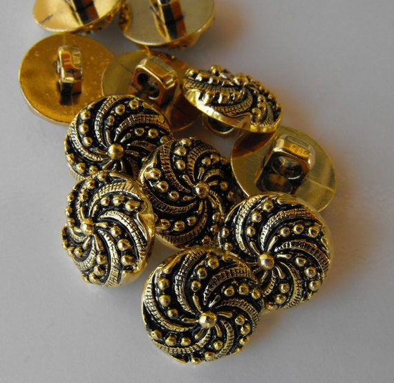 12 Gold Small Pinwheel Shanked Buttons