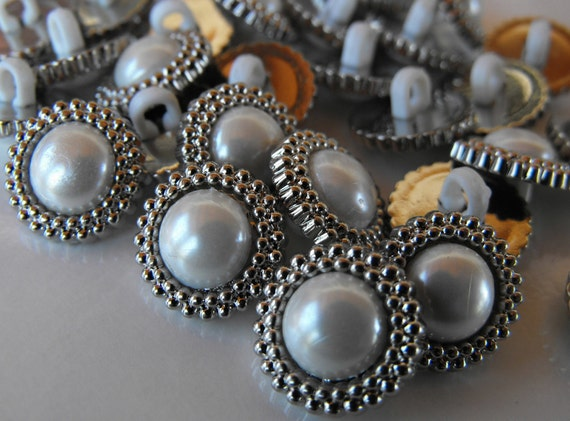30 Silver Encircled Pearl Small Shanked Buttons