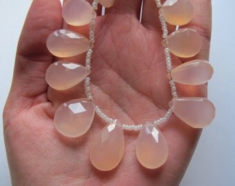 Pink Chalcedony Faceted Flat Tear Drops-Graduated