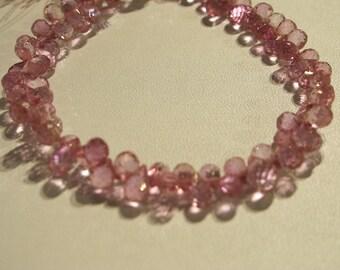 Pink Quartz Faceted Tear Drops- 6x5mm
