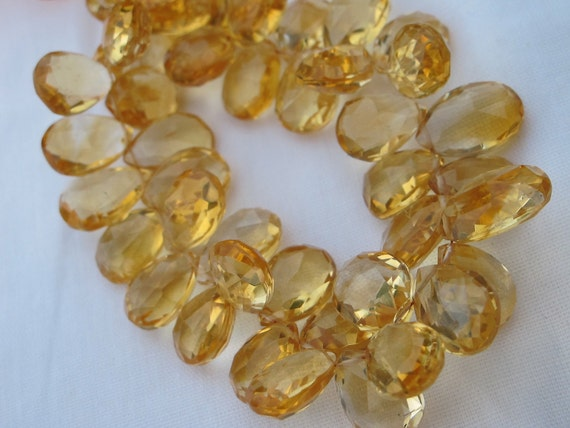 Citrine Faceted Pear Shaped Briolettes- 14x10mm