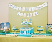 PRINTABLE Modern Alphabet Birthday Party Package (Blue, Green, & Orange)