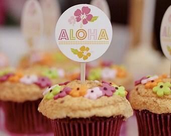 PRINTABLE Hawaiian Luau Cupcake Toppers - Birthdays or Showers