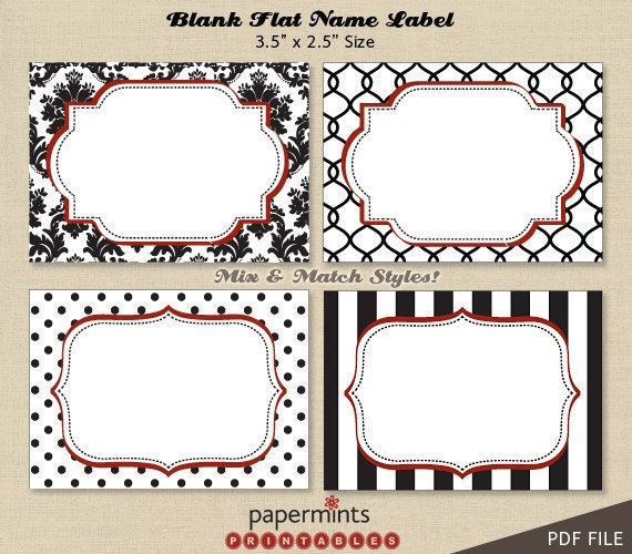 Printable blank name labels for dessert by for Design table name cards