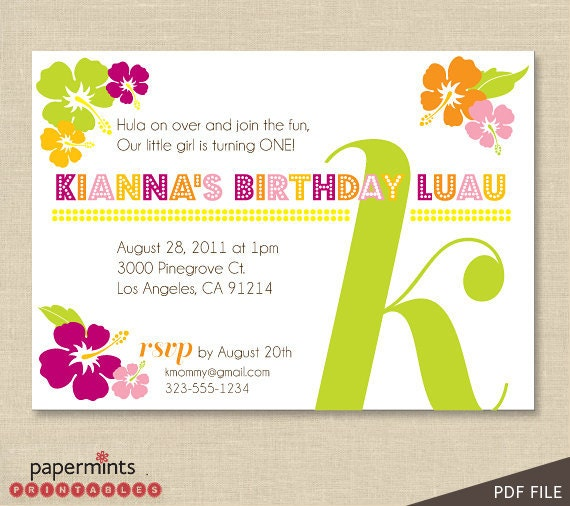 Zany image regarding hawaiian party invitations free printable