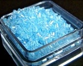 1-2mm HIGH QUALITY glass, 2-cut hex beads, crystal light blue luster (200 pieces)