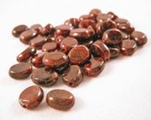 Genuine Garnet Beads,  8mm x 6mm x 3mm flat oval gemstones, C plus grade (25 pieces)