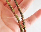 Premium Unakite Gemstone beads, 4mm rounds, HALF strand (GM40H)