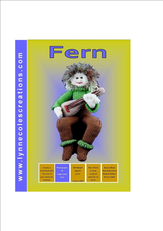 Fern Plant - a unique Toy Knitting Pattern - PDF format