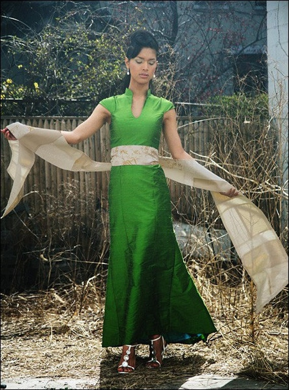 Emerald Green Mandarin-Collar Long Shantung Trumpet Dress-Custom Order Only