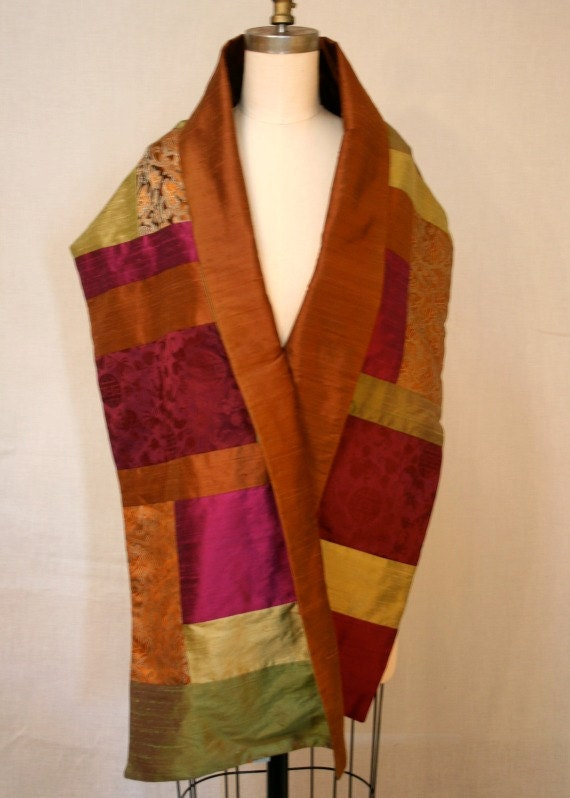 Wine And Copper Patchwork Brocade And Shantung Shawl