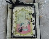 French Mademoiselle Young Lady Sitting With Black Cat Decorative Plaque