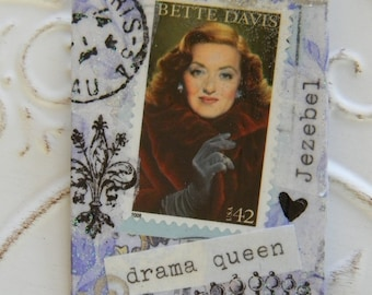 Bette Davis Postage Stamp Decoupage Brooch