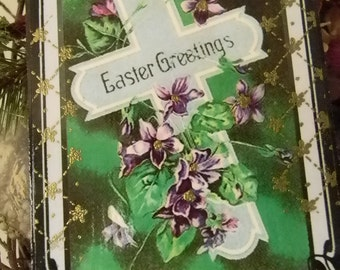 Easter Greetings Cross Easter Decorative Plaque