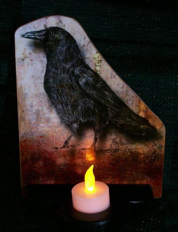 Halloween Illuminated Crow Decorative Plaque Decoration